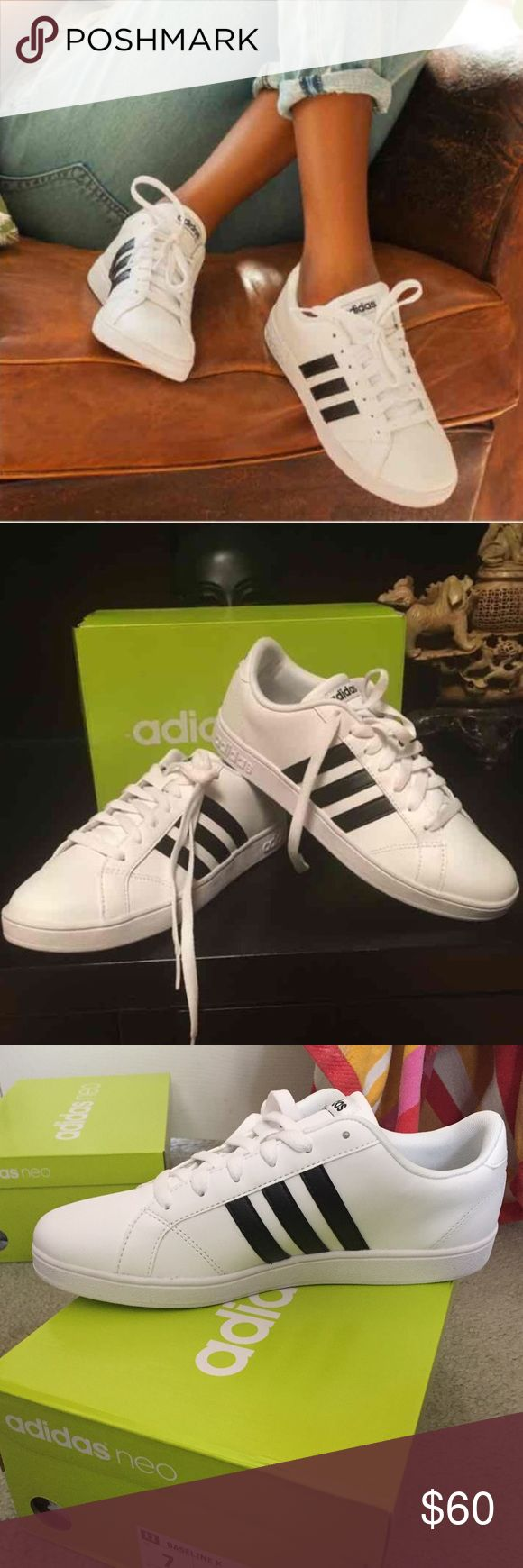 Adidas baseline white sneakers women's size 8 These youth size 7 sneakers are equivalent to a women's size 8. Brand new with box! Adidas Shoes Sneakers