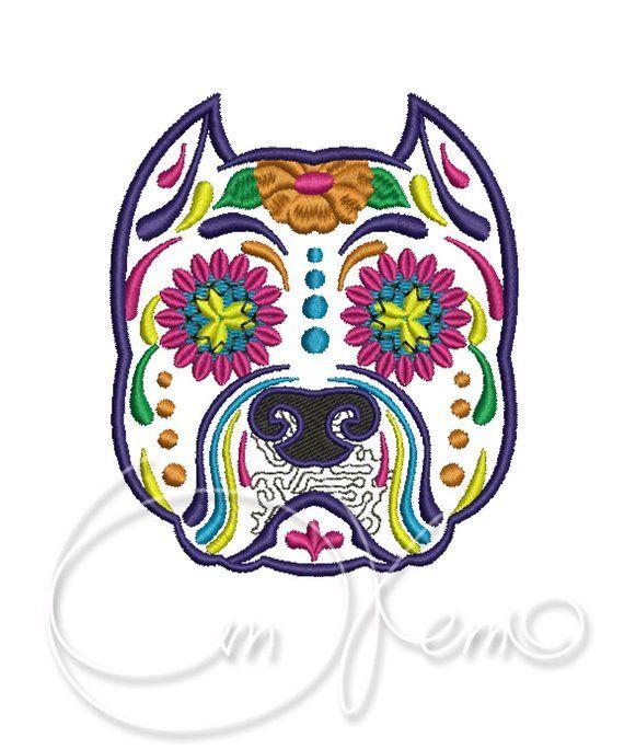 Machine Embroidery Design Calavera Dog Pes Instant Download 4x4