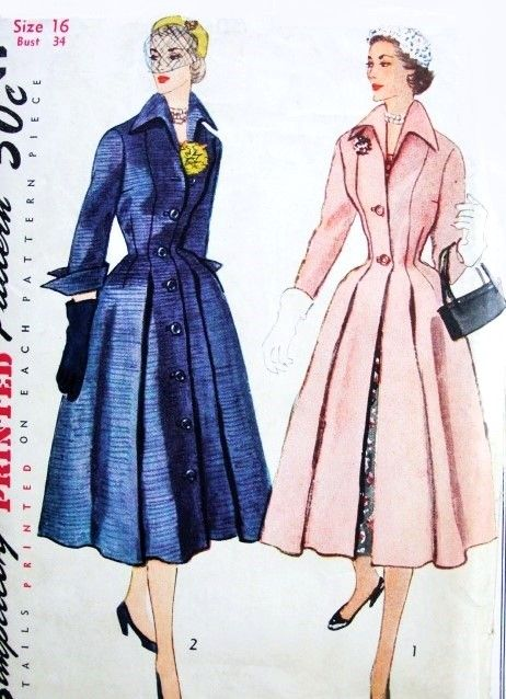 Beautiful 1950s Dior Inspired Princess Style Coat or Coat Dress Redingote Pattern Simplicity 8472 Nipped In Waist Dramatic Wing Collar and Cuffs Bust 34 Vintage Sewing Pattern