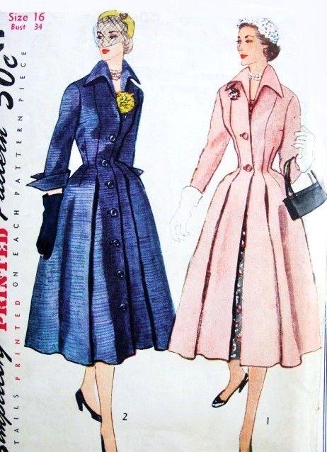 Beautiful 1950s Dior Inspired Princess Style Coat or Coat Dress Redingote…
