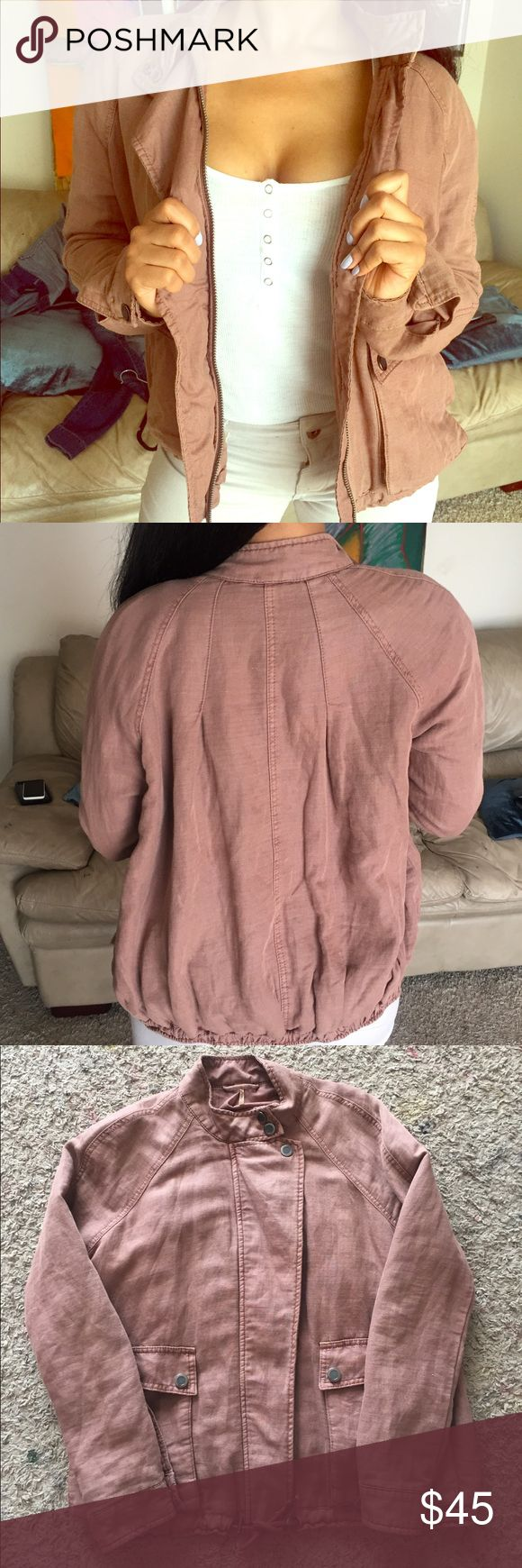 FREE PEOPLE JACKET dusty rose pink bomber utility Worn just a few times, great condition. Free People Jackets & Coats Jean Jackets