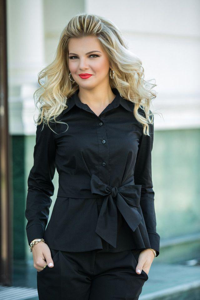 bf8e6ca81748 Стильная блуза с завязкой-бантом на талии. Цвет: черный/белый в 2019 ...