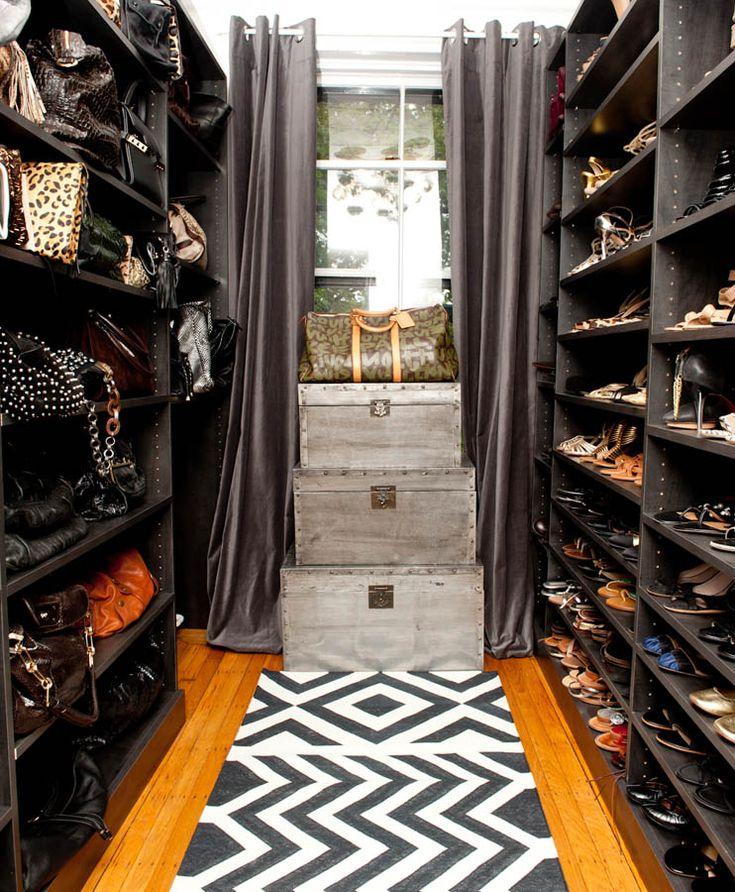 Closets   Walk In Espresso Satined Shoe Shelves Handbag Shelves White Black  Chevron Rug Silver Wood Trunks Gray Silk Grommet Drapes Mary Alice