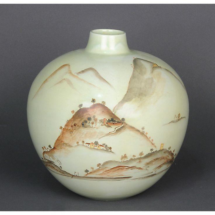 Guido Andlovitz-Laveno: vaso a palla in ceramica raffigurante paesaggio. h. cm 26.