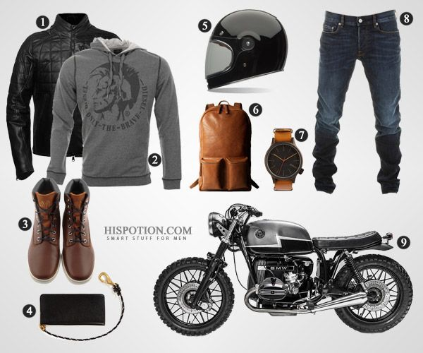 If you're a busy guy running from one coffee bar to another (cause that's what cafe racer motorcycles are for), you've got to have some style. How to look good on it: potion.in/cfrco