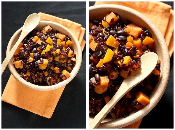 Riz & Haricots Noirs, aux Potimarron & Carottes; une recette de gourmandiseries