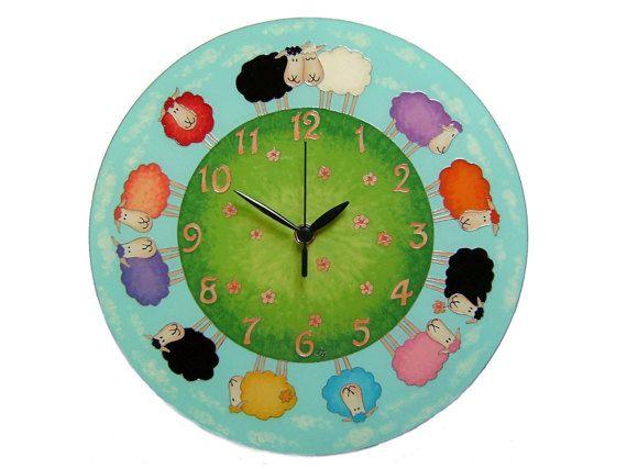 Sheep Large Silent Children's Wall Clock, Animal, Kids Wall Clock,  Unique, Happy Clock,  Lambs Decor