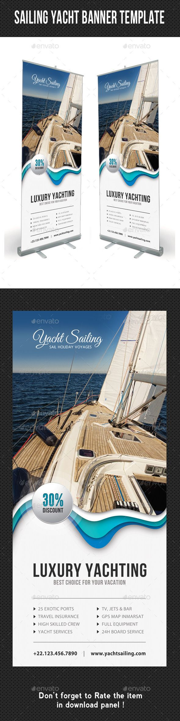 Sailing Yacht Banner Template 07 by rapidgraf High impact Roll-Up Banner Template, perfect for business advertisement or product promotion! Designed for any Boat and yacht sail
