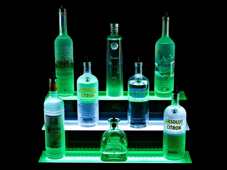 Armana Acrylic Double 9 Wide 6 LED Lighted Liquor Bottle Shelf Bar Shelves