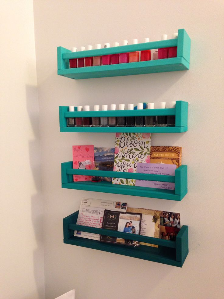 Used an idea seen on Pinterest -- ikea spice racks painted and used as nail polish rack/display, but with an ombré twist!