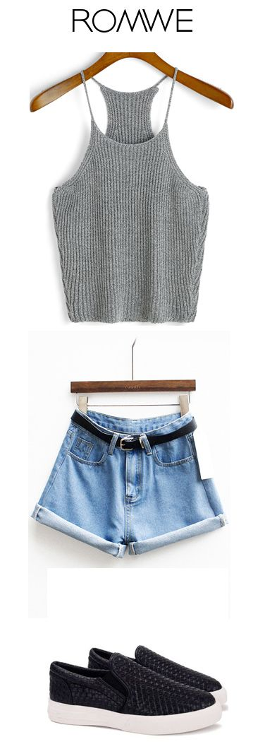 Cami top + blue denim shorts + loafers. Cool summer and fashion look. Romwe.com give up to 60% off for you!