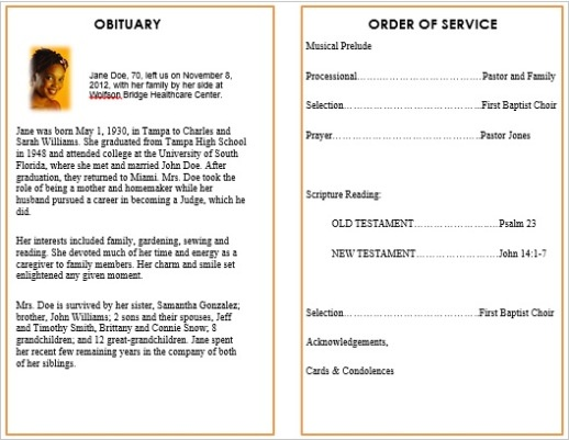 Memorial Bulletins For Funerals  Free Printable Obituary Program Template