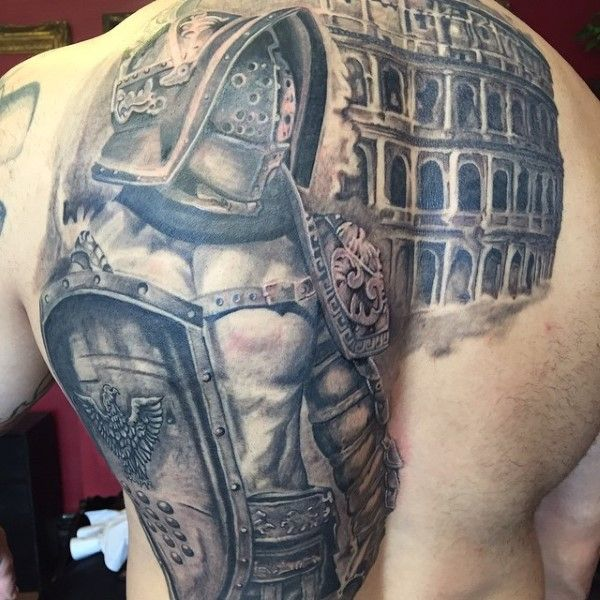 50 gladiator tattoo ideas for men amphitheaters and armor gladiator tattoo tattoo designs. Black Bedroom Furniture Sets. Home Design Ideas