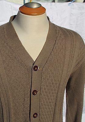 Kingsway-Sweater-Cardigan-Mens-Size-40-L-Simpsons-Sears-Vtg-60s-All-Wool-Beige