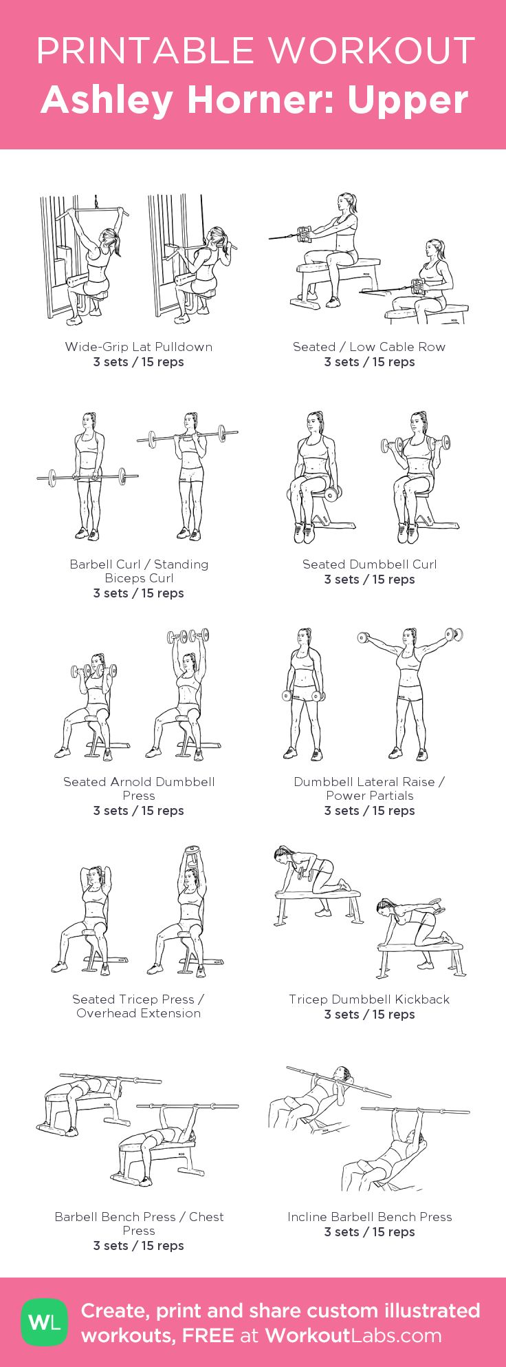 Ashley Horner: Upper: my visual workout created at WorkoutLabs.com • Click through to customize and download as a FREE PDF! #customworkout