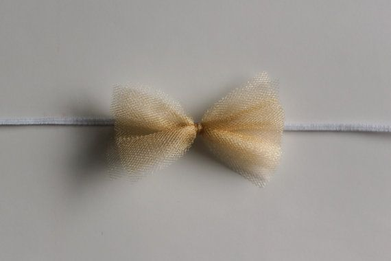 Bow Headband - Tiny Tulle Bow - Newborn Headbands - Gold - Champagne - Dainty - Photo Prop - Tan - Nude - Skinny Headband
