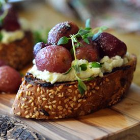 Roasted Grapes Ricotta Crostini | Appeasing Appetizers | Pinterest
