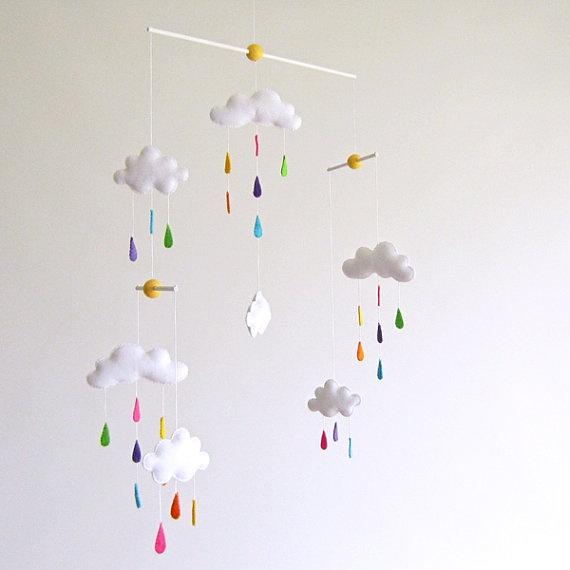 cloud rainbow raindrops mobile