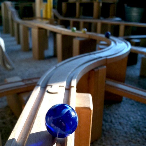 Use train tracks and blocks for diy marble run.   |   Marble maze morning by mayalu, via Flickr