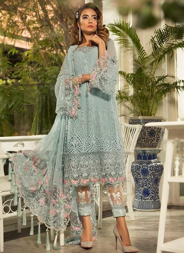 9bb25d1e8b Maria B Embroidered Pure Chiffon Suit in Powder Blue (BD-1607) in ...