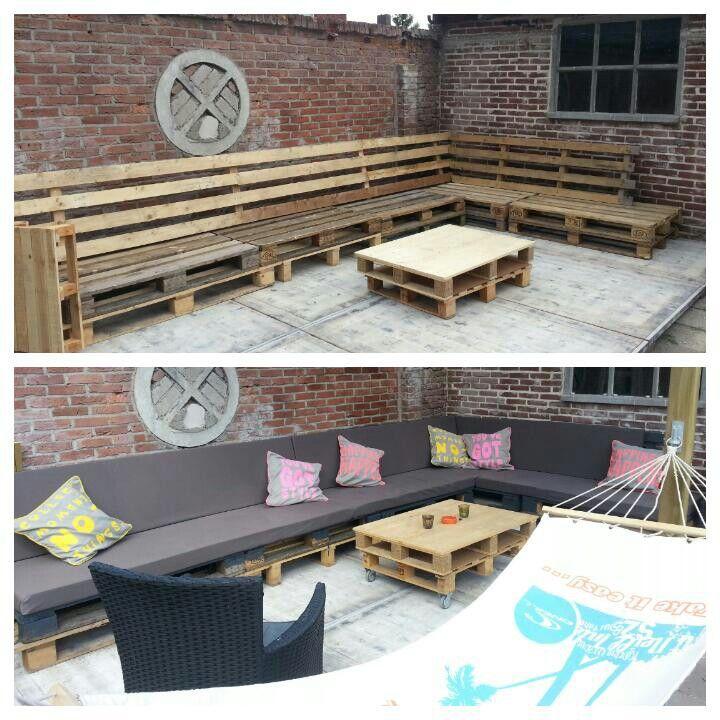 Zelfgemaakte loungebank van pallets