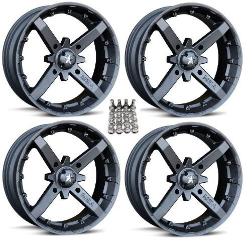 "MSA M23 Battle ATV Wheels/Rims Flat Black 14"" Sportsman XP 550 850. For product info go to:  https://www.caraccessoriesonlinemarket.com/msa-m23-battle-atv-wheelsrims-flat-black-14-sportsman-xp-550-850/"