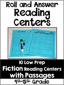 Reading Centers for 4th and 5th Grade {Fiction} This resource includes 10 low prep reading centers for fiction text.