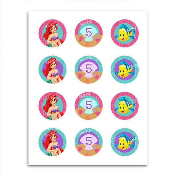 Ariel Little Mermaid Cupcake Toppers Party Favor  by PixelParade, $4.99
