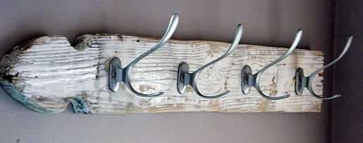Another very cute towel/coat rack, but with salvaged wood, adding some character. D.C would love this for his house