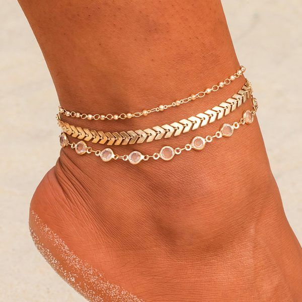 Vintage Gold Silver Multi Layer Chain Anklet Bracelet Foot Women Summer Jewelry