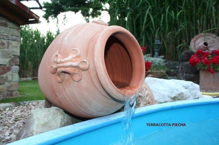terracotta Amphore Brunnen Krug Wasserfall Wasserlauf 40 cm ohne Edelstahlrohr in Garten & Terrasse, Teiche, Bachläufe und Brunnen, Bachläufe & Wasserfälle | eBay!