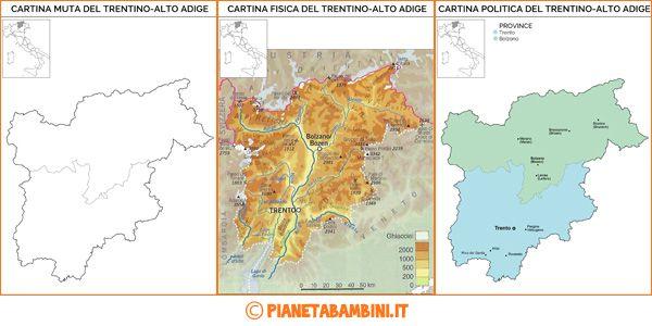 Cartina Muta, Fisica e Politica del Trentino-Alto Adige da Stampare