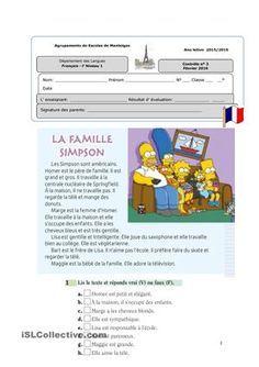 Texte sur la famille Simpson, l´arbre généalogique, liens de parenté, identifier divers membres de la famille, La carte d´identité, le féminin desnomset des adjectifs. - Fiches FLE