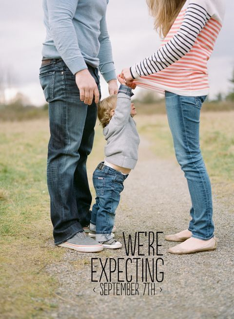 adorable pregnancy announcement photo idea but do with All three.. Yes!  @hollymallett, I can see Tyler doing this!! :)