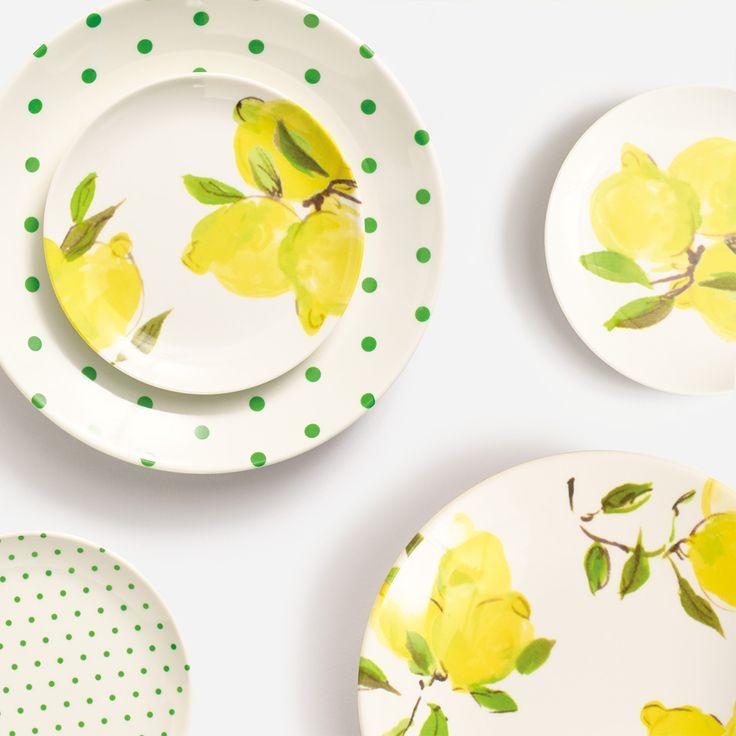 kate spade new york tidbit plates and coasters, lemons