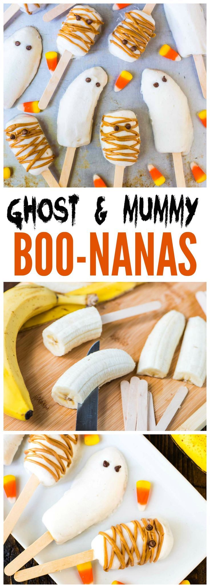 Easy BOO-NANA Banana Popsicle Ghosts and Mummies. SO CUTE! Great healthy Halloween snacks for kids and a fun Halloween activity. Recipe at wellplated.com | @wellplated