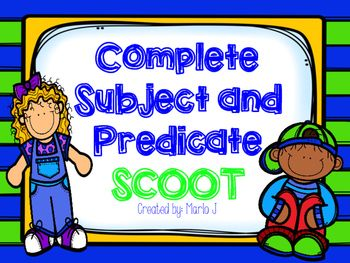Here is a great way to review complete subjects and complete predicates! Students will read the card and decide if the underlined part is a complete tsubject or a predicate. There are twenty cards, a recording sheet, and an answer key. This is a great way to get the kids up and moving while reviewing a skill.