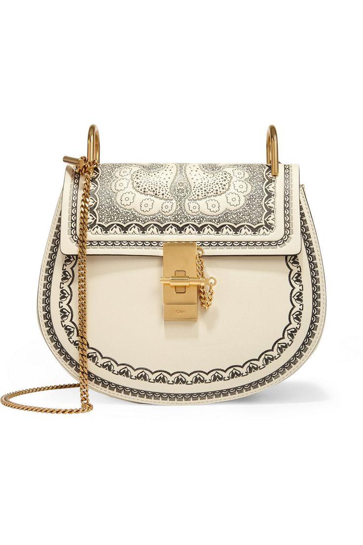 Chloé | Drew small embossed textured-leather shoulder bag | NET-A-PORTER.COM