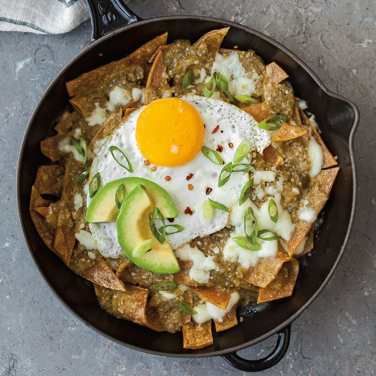 Baked Tomatillo Chilaquiles #friedegg #chilaquiles #brunch
