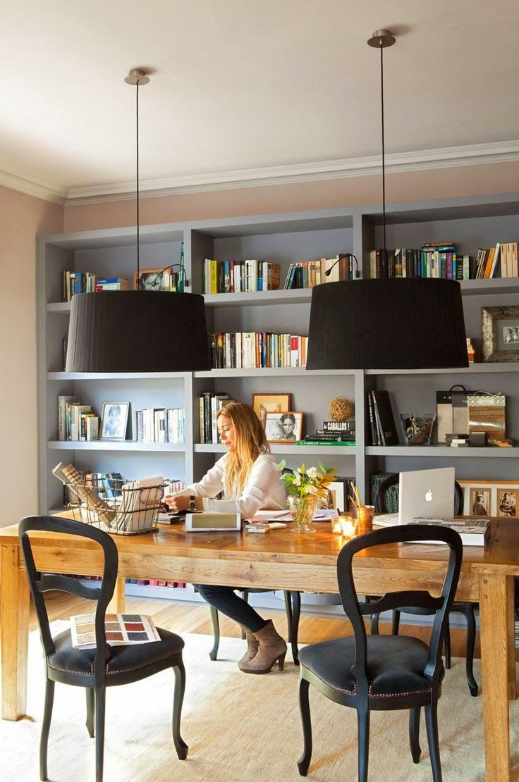 1367 best book displays images on pinterest bookcases book our home office is brick wall doesn t work home office library kindesign love the warm color of the natural wood of the desk contrasted against the black