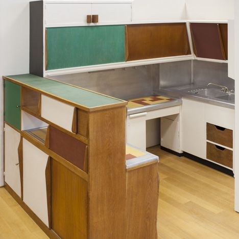 Designing Modern Women 1890–1990 at MoMA Kitchen from the Unité d'Habitation, Marseille, France by Charlotte Perriand with Le Corbusier