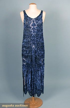 electric blue tabard dress, fully covered in sequins and beads
