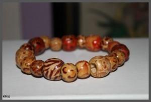 Multi Coloured Pattern Wooden Bead Bracelet