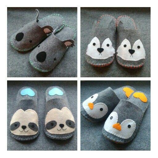 Ręcznie szyte ciepłe kapcie z filcu :) urocze koala, husky, wilk, leniwiec, pingwin. Idealne na prezent. Zapraszamy na www.facebook.com/misscutepl ||| Handmade felt slippers <3 kawaii inspired, cute and cosy :) penguin sloth husky dog wolf koala DIY http://www.facebook.com/misscutepl