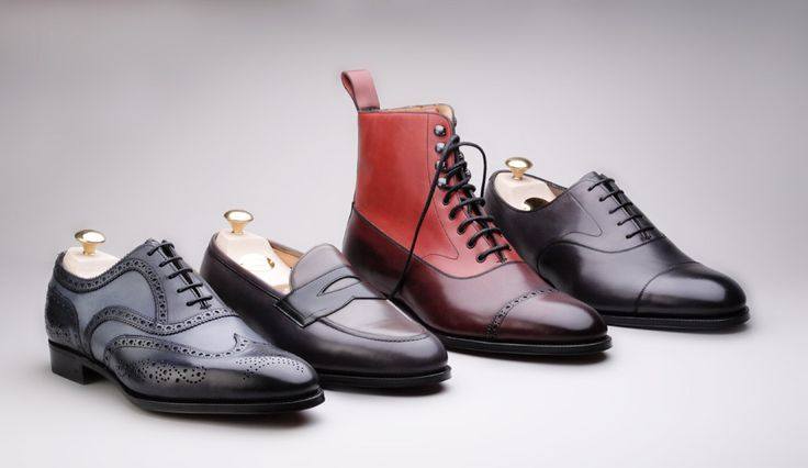Edward Green for Hardy Amies: Midnight/ Twilight Falkirk brogue; Black/ slate Piccadilly loafer; Burgundy / old rose Shannon boot; and Slate Chelsea oxford.