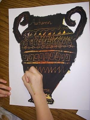 Greek scratch art vases