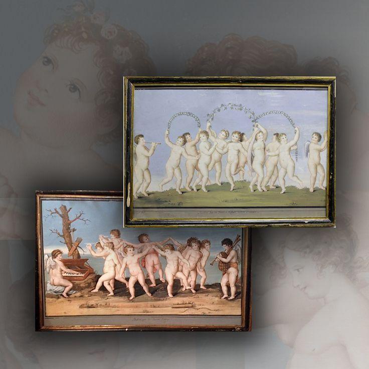 Grand Tour - Paire de Guaches sur papier - Marianna Giusti - Italie XVIIIè siècle - EN VENTE - ON SALE -