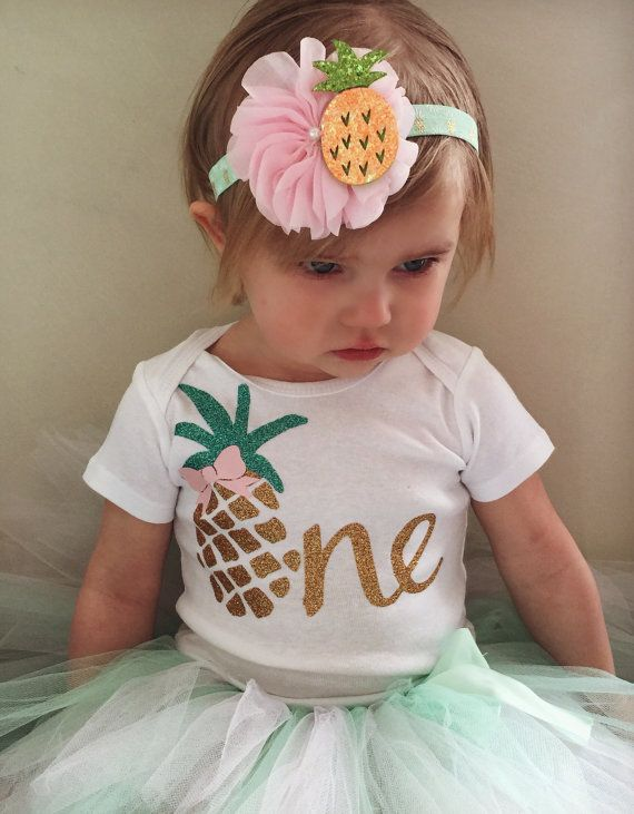 Wonderful fun summertime first birthday outfit featuring our favorite summertime fruit...Pineapple