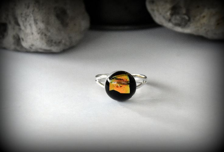 Dichroic verstelbare ring - glasring / glasjuweel door Evacreajewel op Etsy