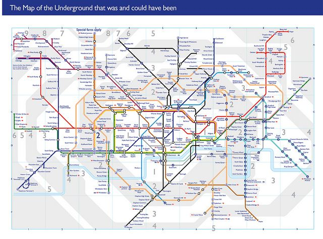 Map of London Underground including all ghost stations, disused and proposed lines.